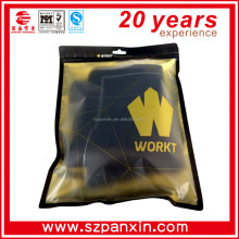 front clear back gold foil clothes bag with rounded corners