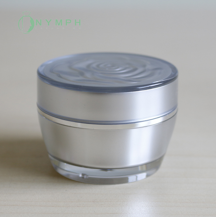 15g 30g silver cosmetic plastic cream packaging jar with rose lids