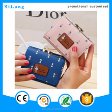 Nice flower printing leisure wallet grain leather fashion style ladies beautiful pu wallet