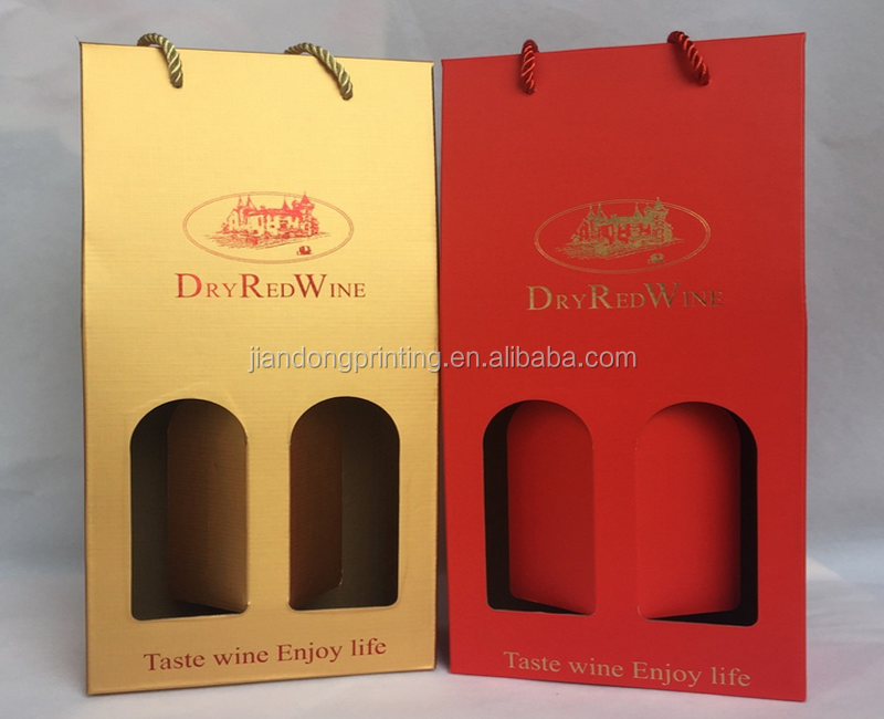cardboard red wine box with rope handle