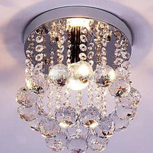 Mini Modern Crystal Chandeliers Rain Drop Pendant Flush Mount Ceiling Light