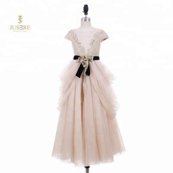 2018 Summer high quality lace and tulle champagne girl dresses for wedding with black velvet belt
