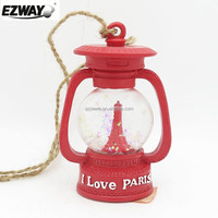 Newly design snow globe with Eiffel Tower antique latern shaped with rope holder