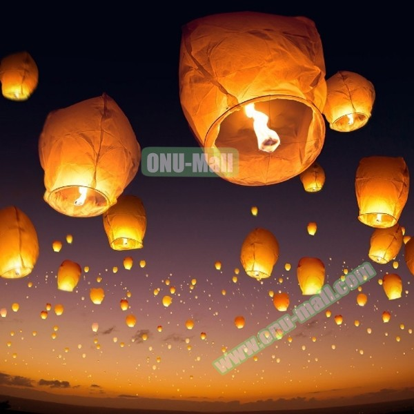 Wholesale Price Sky Flying Paper Lantern with Candles, Biodegradable kongming lantern for Wish