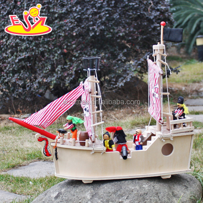 wholesale high quality unique style wooden toy pirate ship for sale W03B061-Z