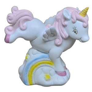 pink blue resin unicorn status money box