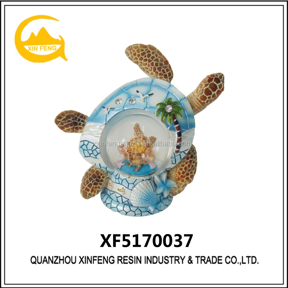 High quality polyresin turtle snow globe for home decoration