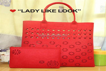 Factory Direct Hot Sells Candy Color Women's Felt Purse/Cheap Ladies Felt Purse And Coin Bag Made In China/Hollow Out Purse