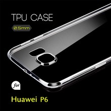 0.5mm Ultra Thin TPU Transparent Clear Protective Case for Huawei P6