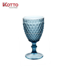 320ml color Diamond decoration glass goblet Pineapple Style Wine Goblet Drinking Glass