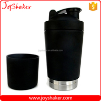 18/8 304# Stainless Metal Shaker Bottle with Surface Coating Black Color,Body 700ML+200ML Storage