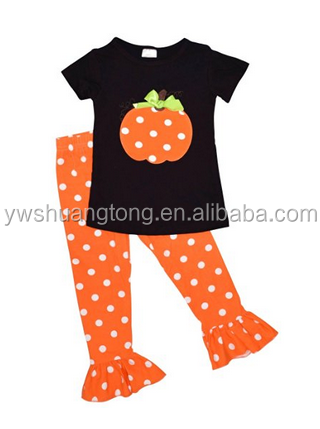 Girls Fall Fashion Halloween Polka Dot Pumpkin Outfit