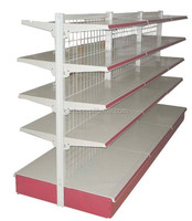 RH-HSBW03 Double Side Supermarket Metal Shelf With Wire Mesh Back Panel