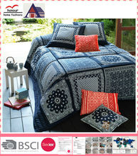 Hot Sale 100 Cotton/Polyester Dark Blue False Patchwork Printed Quilt