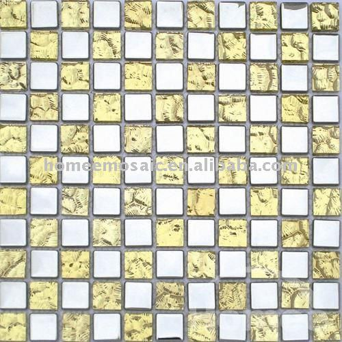 metal mixed glossy texture glass mosaic for kitchen backsplash tile