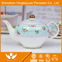Elegent half flower decal CERAMIC tea pot & cup&saucer