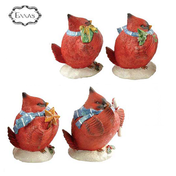 Resin Red Auerbach Cardinal Bird for Christmas Ornaments