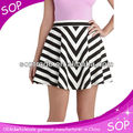 Fashion sexy women printed A line skirt chervon ladies mini skirts for summer