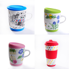 Wholesale Water Cup Mugs Cheap In Bulk Stoneware Mugs Red Mug with Smile Face