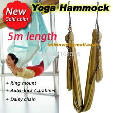 Gold 5m full sets Aerial Yoga Hammock Swing Trapeze AntiGravity Inversion equipment +daisy chain+autolock carbiner +ring mount