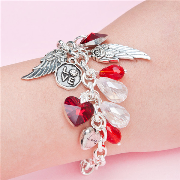 "Link Cable Chain Angel Wing Heart Pendants ""I Love you"" Carved Red & AB Color Beads Clear Rhinestone Handmade Charm Bracelets"