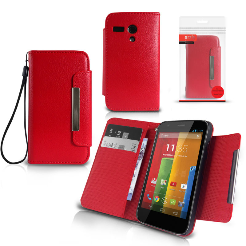 Orzly - Wallet Case for Moto G - Red