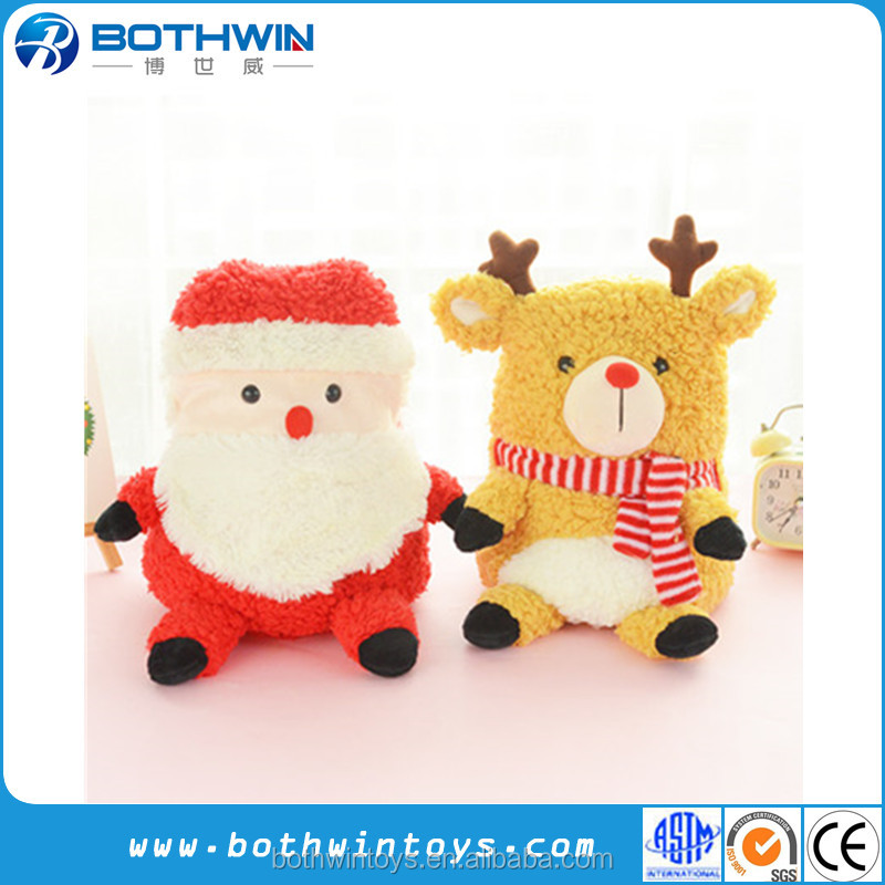 Cute Reindeer Santa Claus Character Festival Support Christmas Blanket