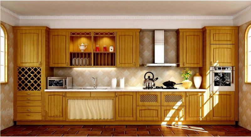 wood grain melamiend chipboard/PVC thermofoil faced MDF simple cheap display kitchen cabinets for sale