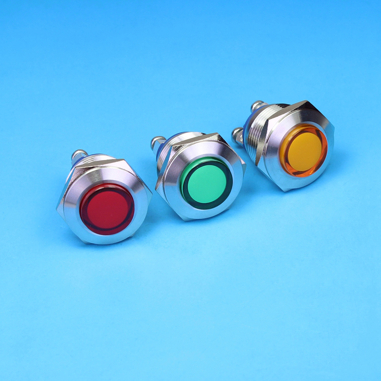 HS05 IN35 High Round Head 19mm Waterproof Stainless Steel Vandal Proof Led Indicator 12V Red Led IP67 Signal light