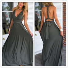 wholesale sexy women V Neck sleeveless party prom long evening dress