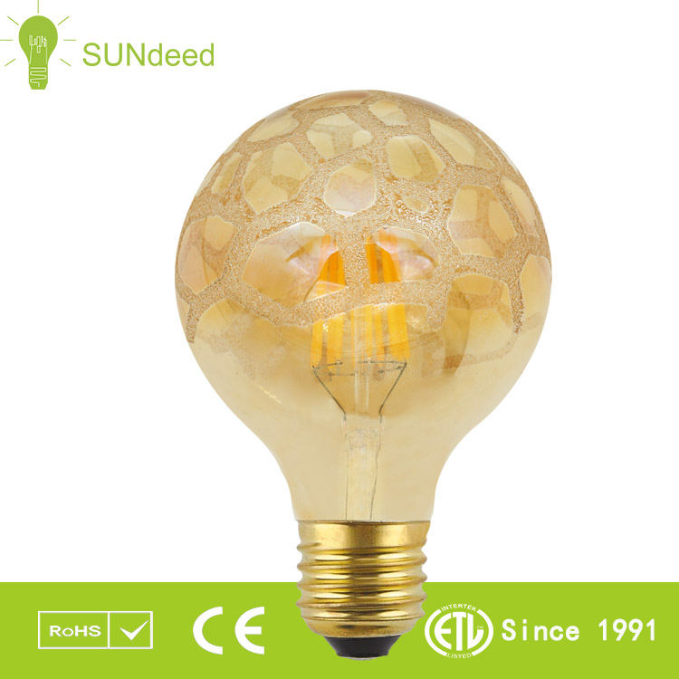Edison Classic LED light bulb G95 special shaped clear amber straight led filament 2W 4W 6W dimmable 110V 220V E27 brass base CE
