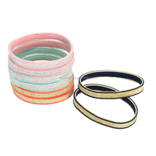 Girls Flat Glitter Elastic Hair Bands Shining Hair Ties Bracelets For Woman