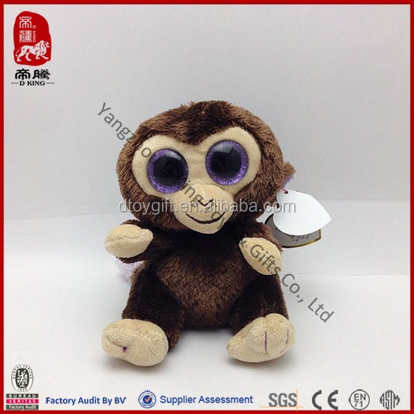 China wholesale pink custom brown plush big eyes animal monkey stuffed toy