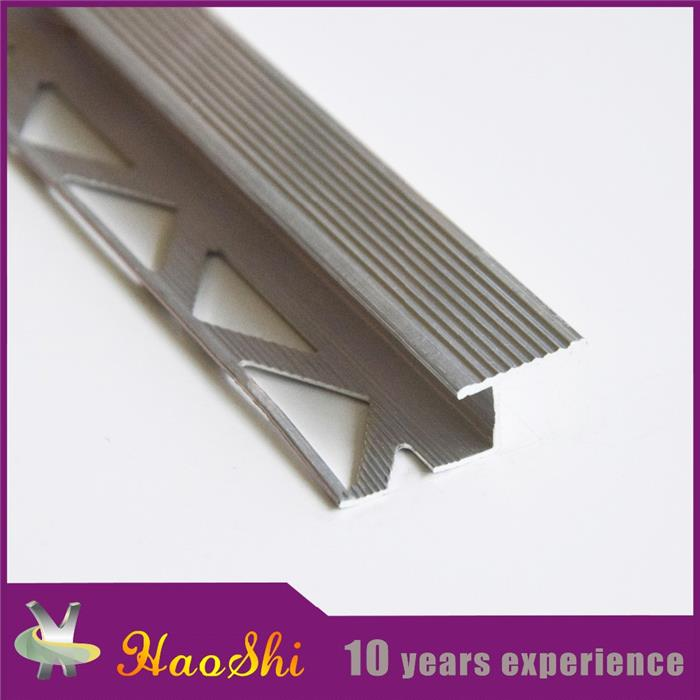 Reliable Manufacturer Extruded Brushed anti-slip aluminium porcelain tile stair nosing