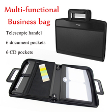 Multifunctional Telescopic Handle portable A4 Business bag folder portfolio briefcase leather