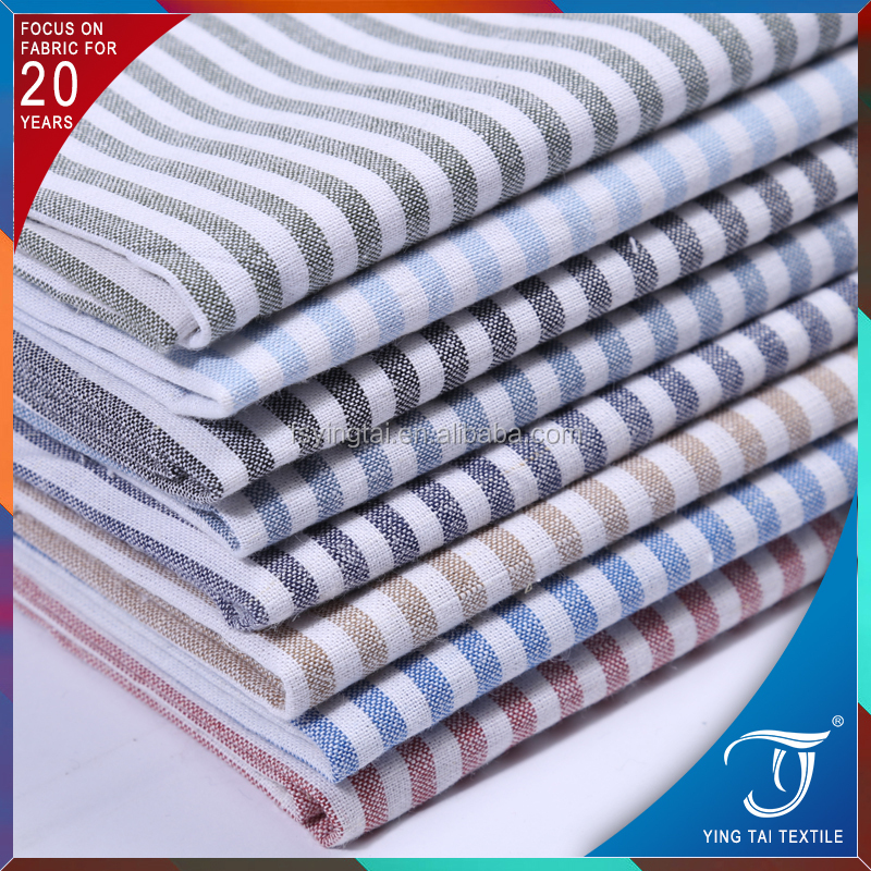 Super good quality custom plain shirting cotton textile plain stripe design linen fabric for shirts