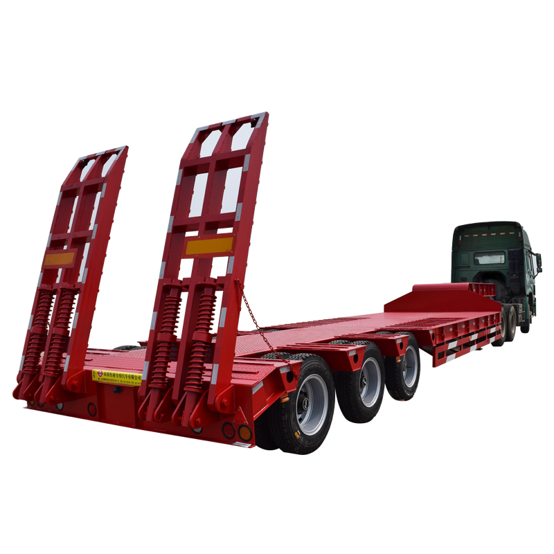 China factory manafacture 3 axles gooseneck lowboy flatbed semi trailer