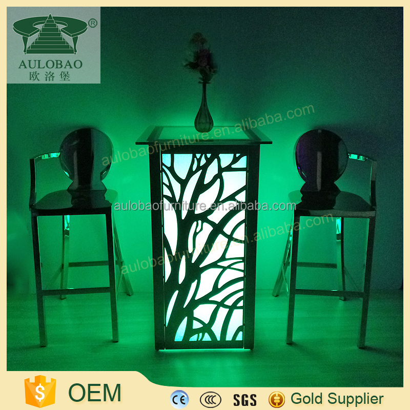 high legs led light glass highboy cocktail table with stainless steel for sale