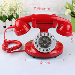 Red black retro old vintage corded push button desk phone