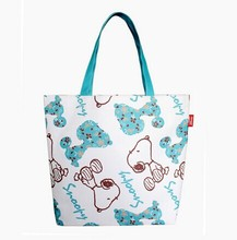 woman foldable reusable polyester shopping bag printing cute dog