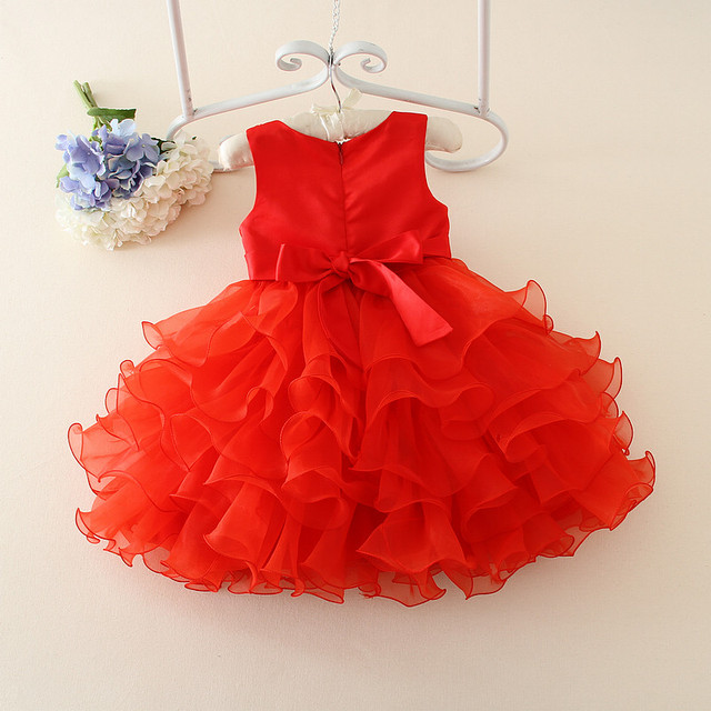 Classic Red Chinese Birthday Dress For 1 Year Old Kid One Piece Girls Fluffy
