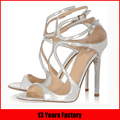 2015 luxury sexy design sliver genuine leather with high heels elegance prom shoes