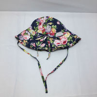 floral print children sun hat with strings/customl print cotton kid/baby Bucket Hats With Strings