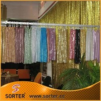 Factory Price Kitchen Curtains Decorative Sequin Cloth Window Drapery