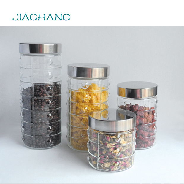 Round glass jar with metal lid for candy packaging