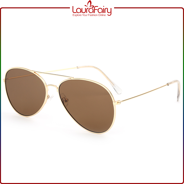 Laura Fairy Made In Italy Women UV 400 CE Metal Sunglasses With Brown Lens
