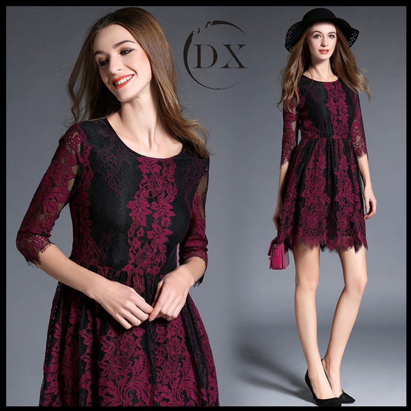 Autumn outfit seven minutes sleeve lace embroidery dress female A word skirt