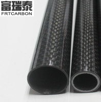 3K plain weave Matt finish carbon fiber+glass fiber mix tube pipes for rc multicoper made in China