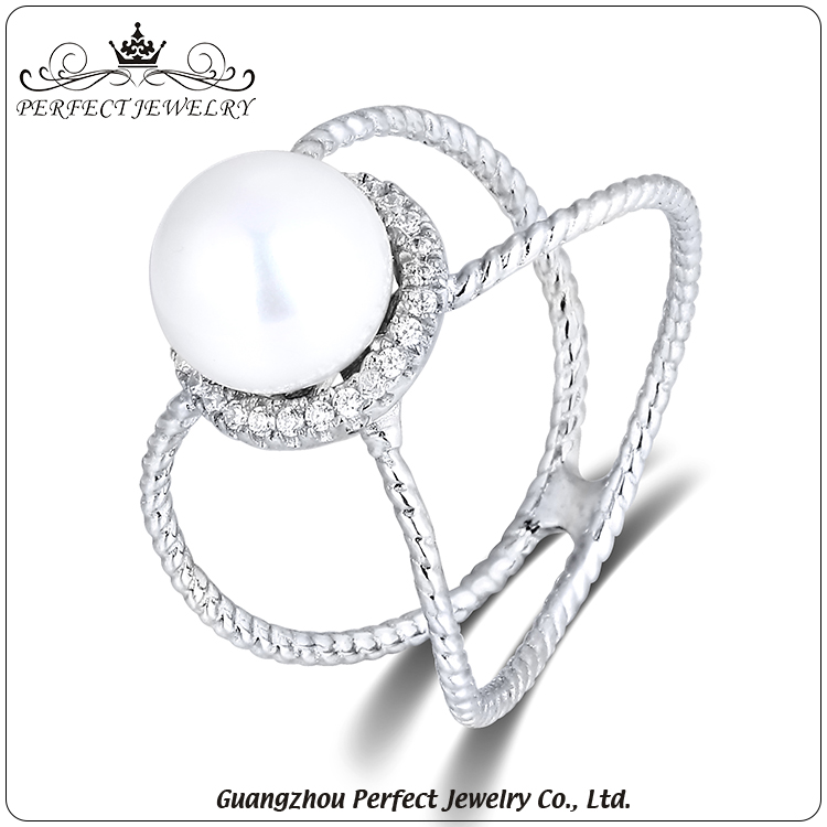 Professional customized silver charm pearl rings fashion design jewellery for women accessories
