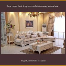 Royal elegant classic living room comfortable massage sectional sofa